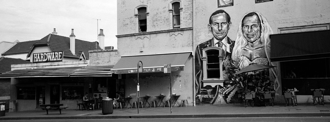 Tony Abbot married to himself | Hasselblad XPan, 45mm | Kodak Tri-X 400