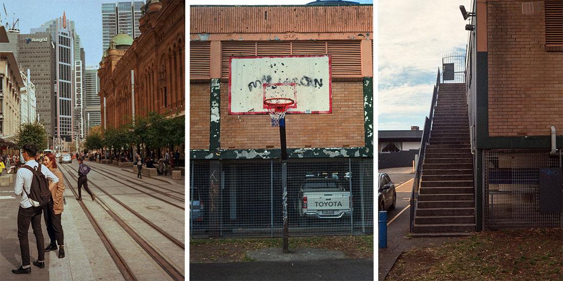 L-R: Sydney Street, Basketball Hoop, Stairs   Prakti   Kodak Ultramax 400