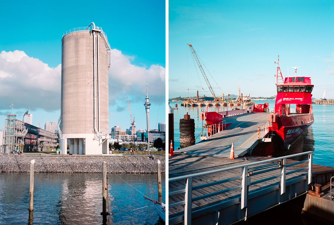Silo (r) and motor vehicle ferry (l) | Fuji GS645S | Kodak Portra 400