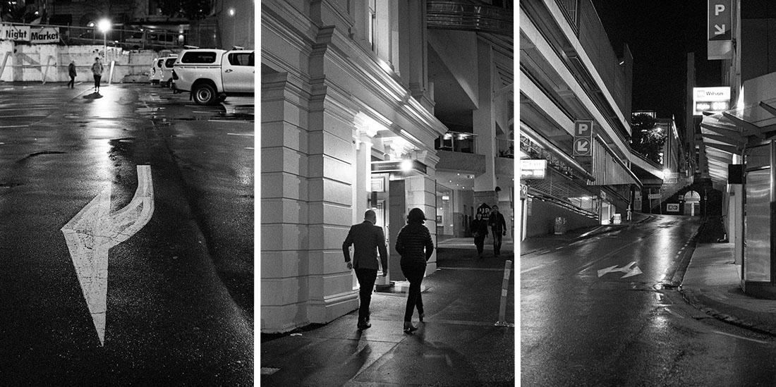 L-R Arrow, Night Out and Street   Leica M2   Canon 50mm f/1.8 LTM   Kodak T-Max P3200