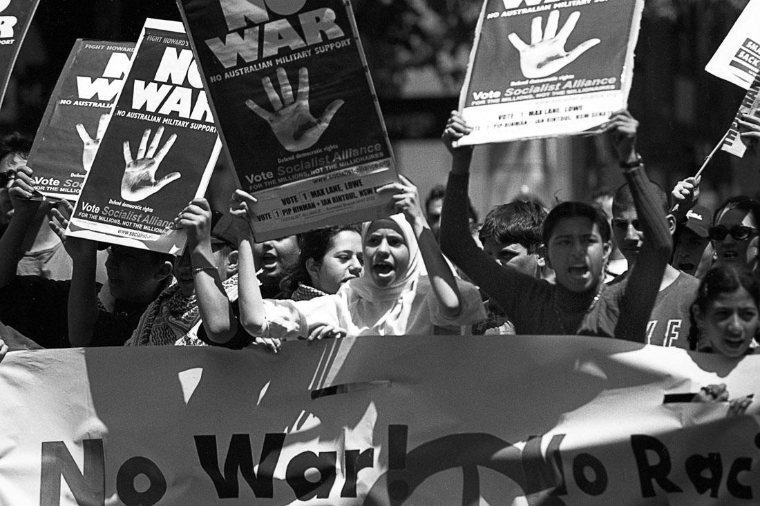 Anti Afghanistan War protest, Sydney, 2001 | Nikon F5 | Ilford Delta Professional 100