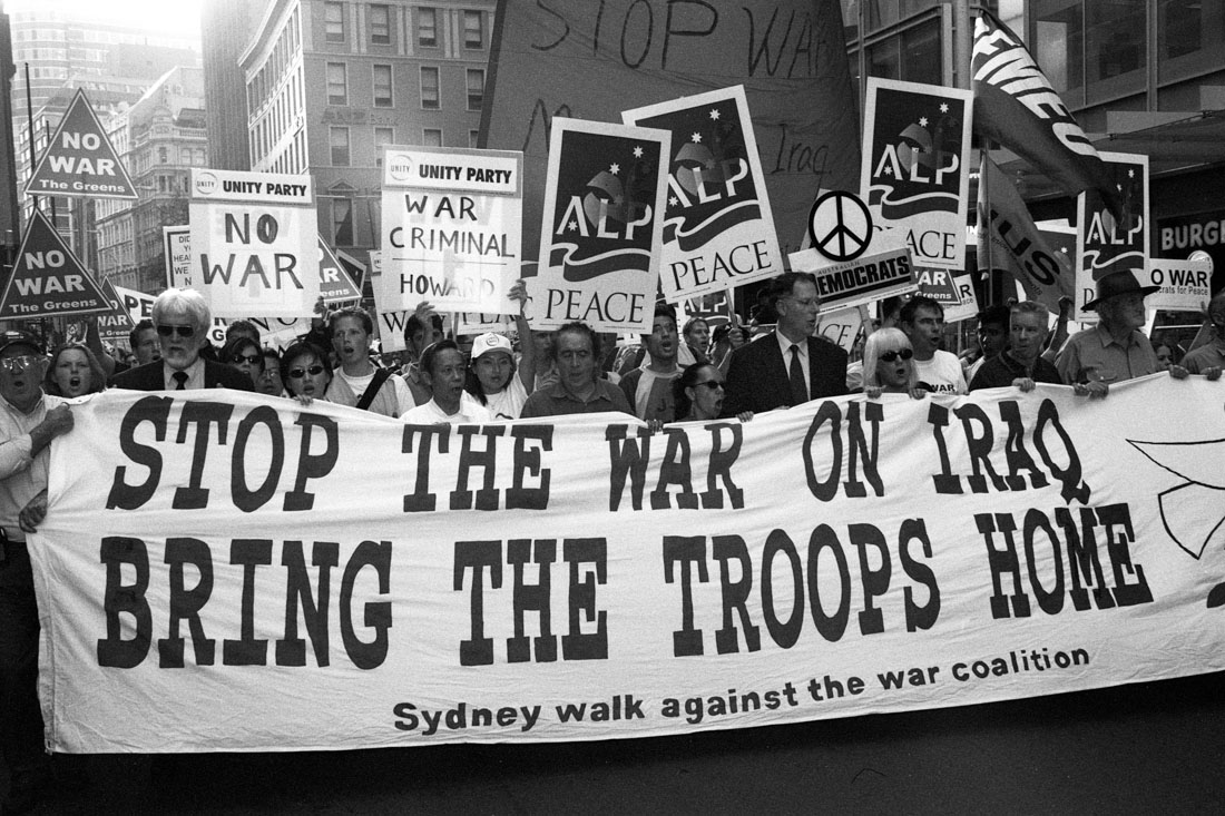 Anti Iraq War protest, Sydney, 2003 | Nikon F5 | Ilford Delta Professional 100