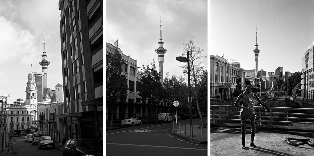 Auckland Sky Tower from different angles | Nikon RD2 | Ilford FP4 Plus
