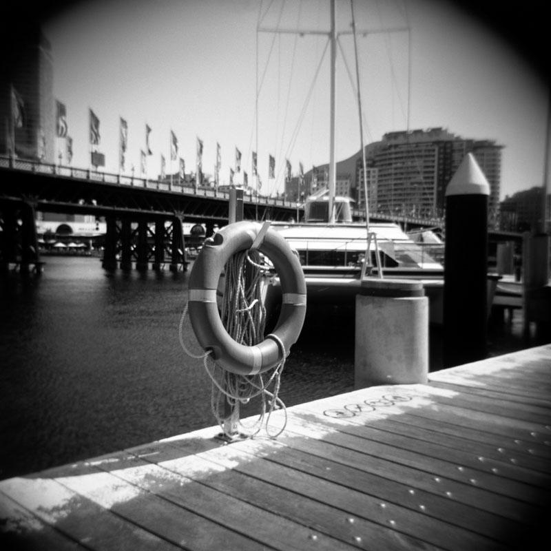 Life preserver, Darling Harbour, Sydney | Holga 120N | Kodak T-Max 100