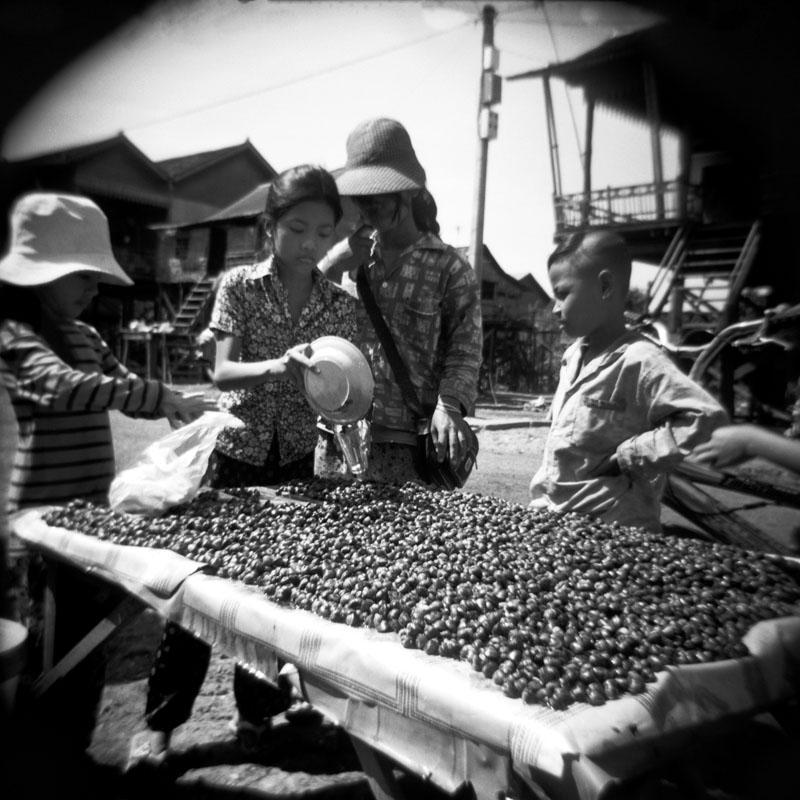 Nut seller in Kompong Khleang, Cambodia | Holga 120N | Kodak Tri-X 400