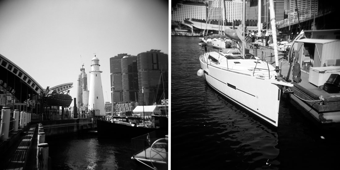 Darling Harbour, Sydney   Holga 120N   Kodak T-Max 100