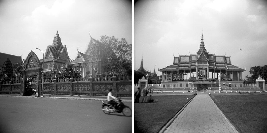 L: Wat Ounalom, R: Grand Palace, Phnom Penh, Cambodia | Holga 120N | Kodak Tri-X 400
