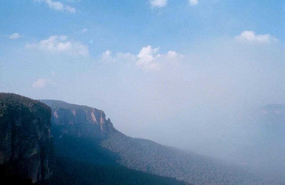 Blue Mountains in bushfire smoke | Nikon F3 | Nikkor 28mm f/2.8 Ai | Kodak Portra 400
