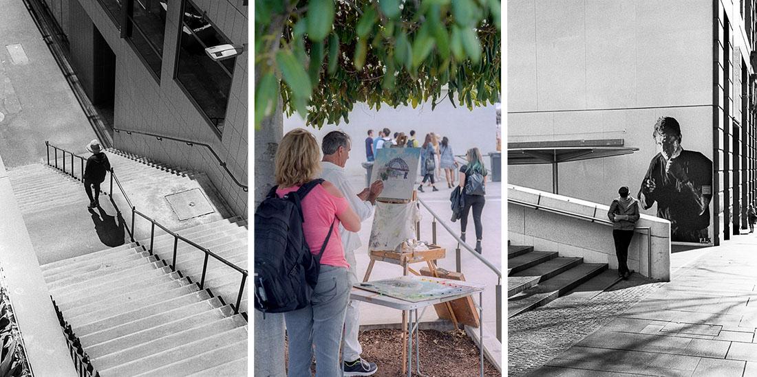 Leica M3 | Leitz Summicron 5cm f/2 | L-R: (1) Stairs, Ilford HP5 Plus (2) Painter, Fujifilm Pro400H (3) Boxer, Kodak Tri-X