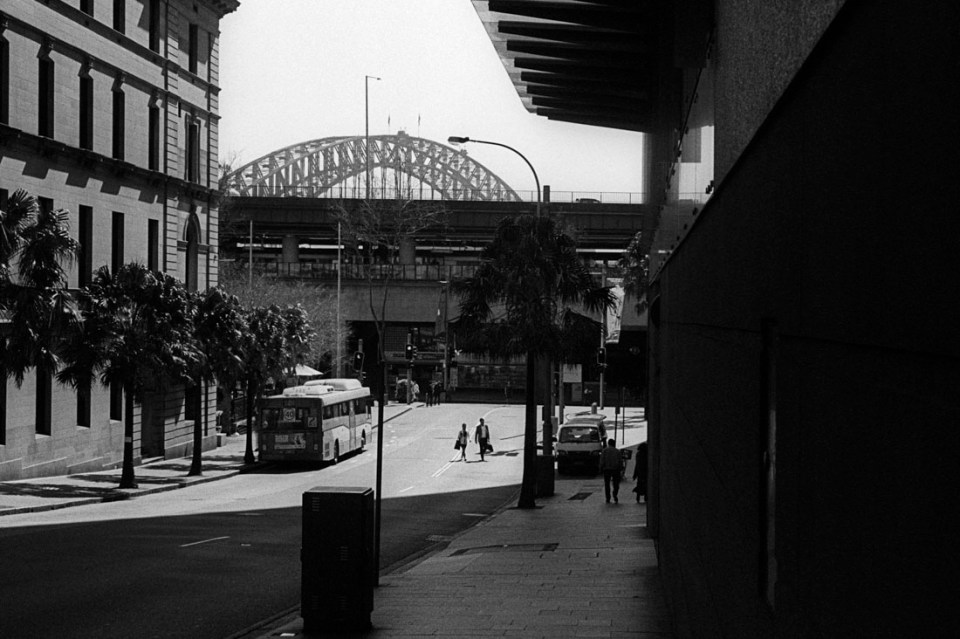 Shaded street | Leica M3 | Leitz Summicron 5cm f/2 DR | Ilford HP5 Plus