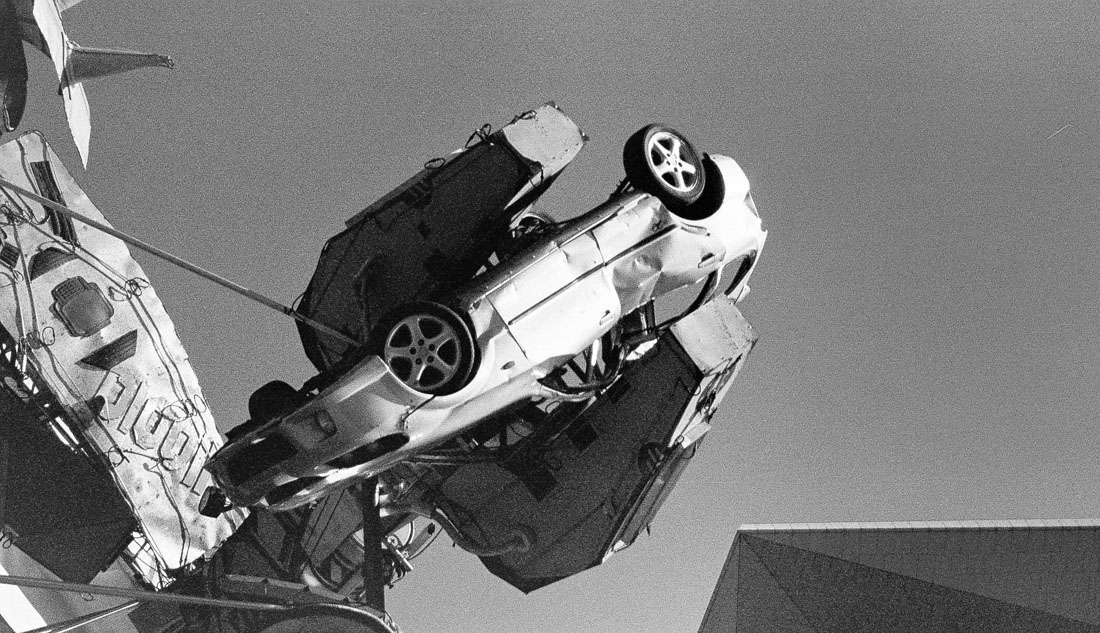 Car crushing| Canon Elph 2 | Kodak Advantix 200 (converted to B&W due to expired film colour shifts)
