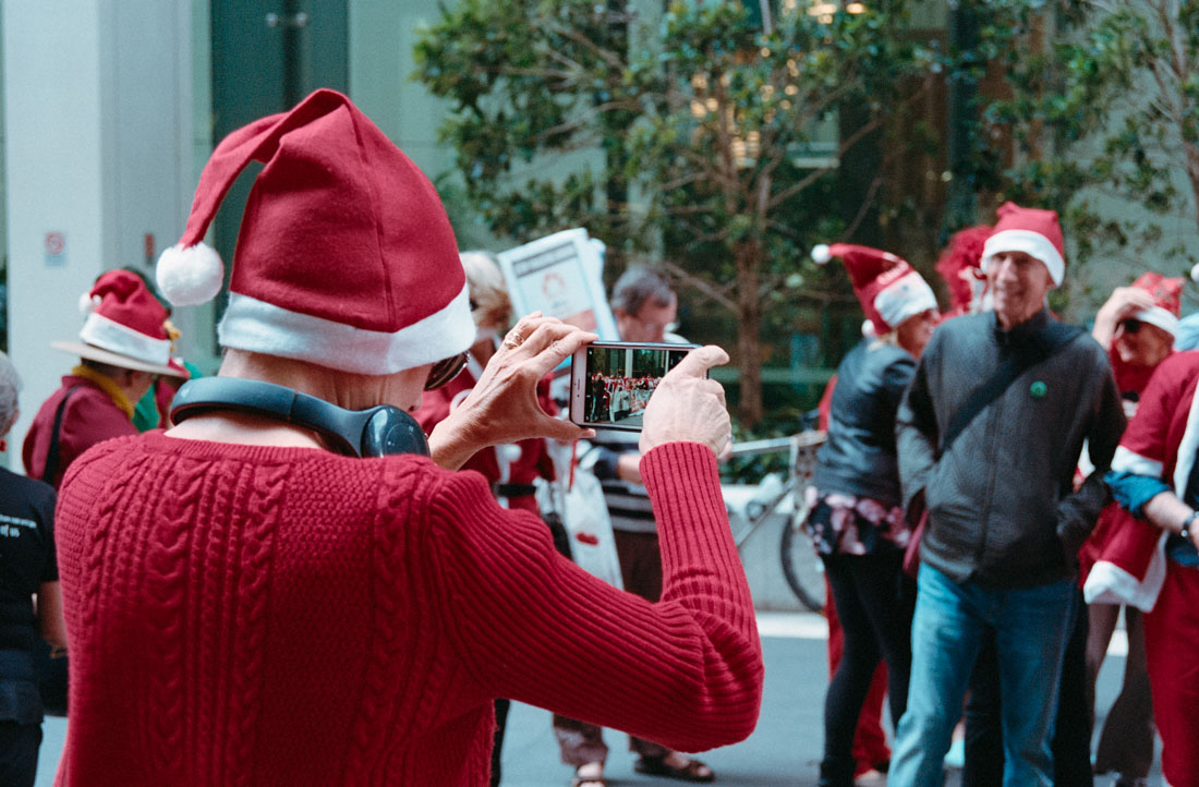 Extinction Rebellion Santa Protest against Northern Territory Fracking, Sydney, 2019 | Nikon F4s | Nikkor 28-105mm f/3.5-4.5 AF D IF | Kodak Portra 400