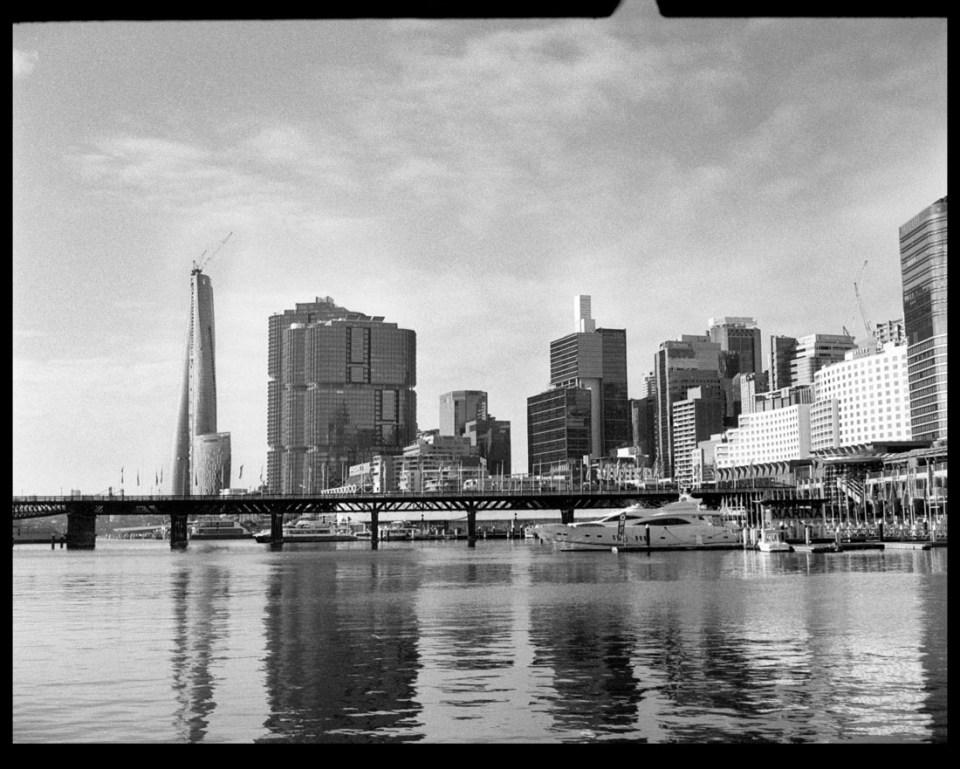 Barangaroo from Darling Harbour | Agfa Optima-Parat | Ilford FP4 Plus