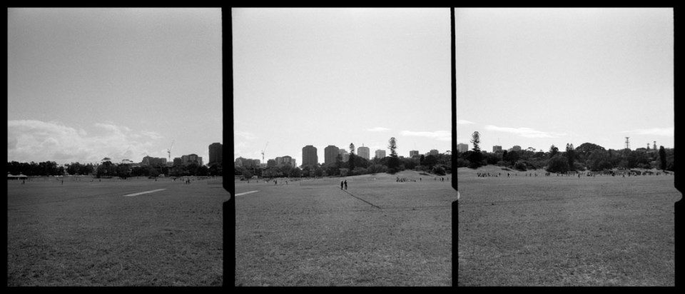 Sydney from Queen's Park, triptych | Agfa Optima-Parat | Ilford FP4 Plus