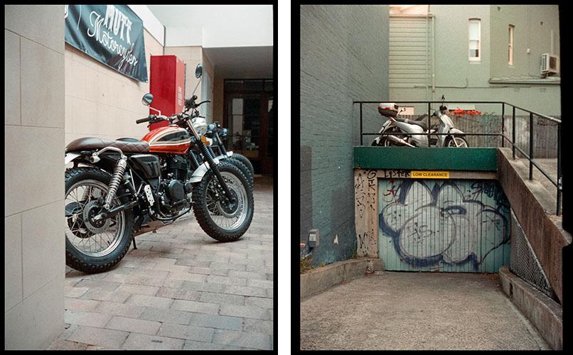 Motorcycle (l), Moped in alley (r) | Agfa Optima-Parat | Kodak Portra 400