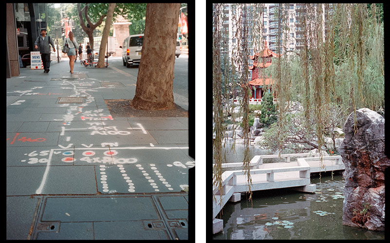 Footpath markings (l), Chinese Garden of Friendship (r) | Agfa Optima-Parat | Kodak Portra 400