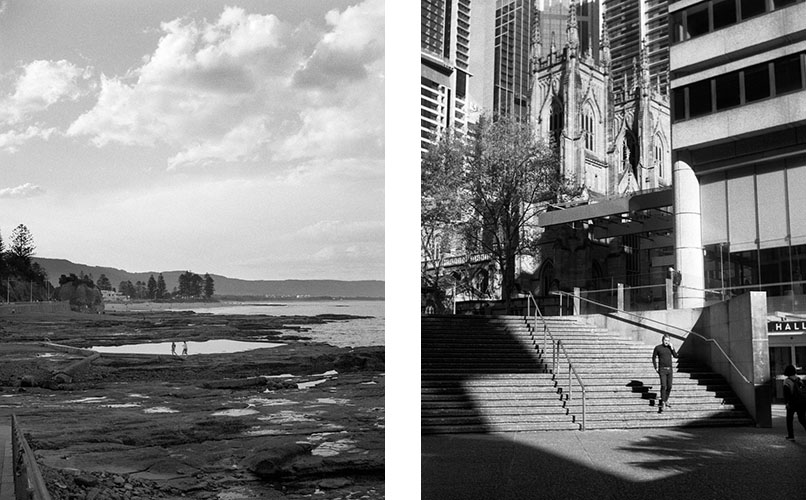 At the rock pool (l), Phone on stairs (r) | Agfa Optima-Parat | Ilford FP4 Plus