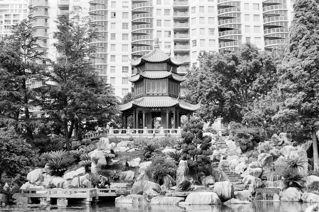Temple in Chinese Garden of Friendship | Pentax Super-Takumar 50mm f/1.8 | Ilford HP5 Plus