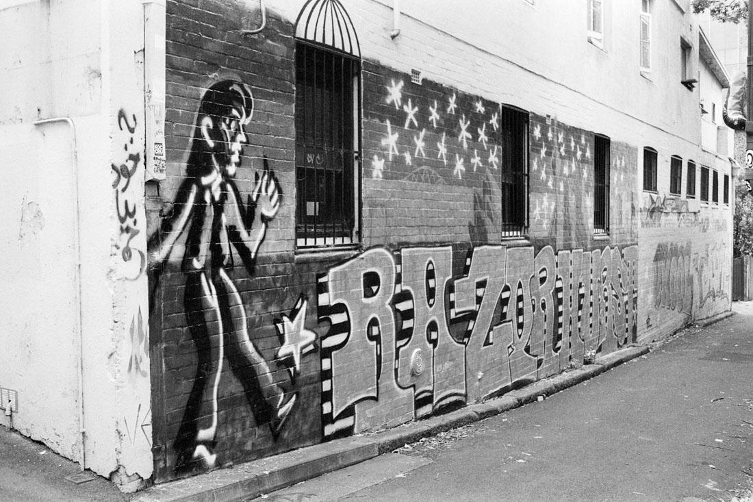 Razorhurst graffiti | Pentax Spotmatic SP | Pentax Super-Takumar 35mm f/3.5 | Ilford HP5 Plus