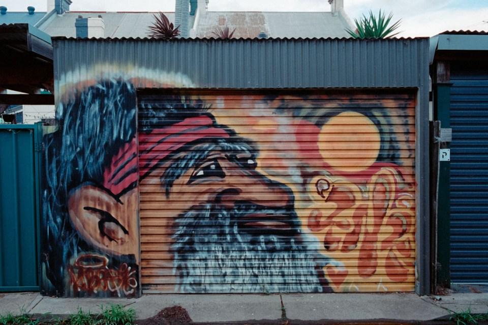 Indigenous garage mural | Leica M2 | Carl Zeiss Biogon 35mm f/2 | Kodak Portra 400