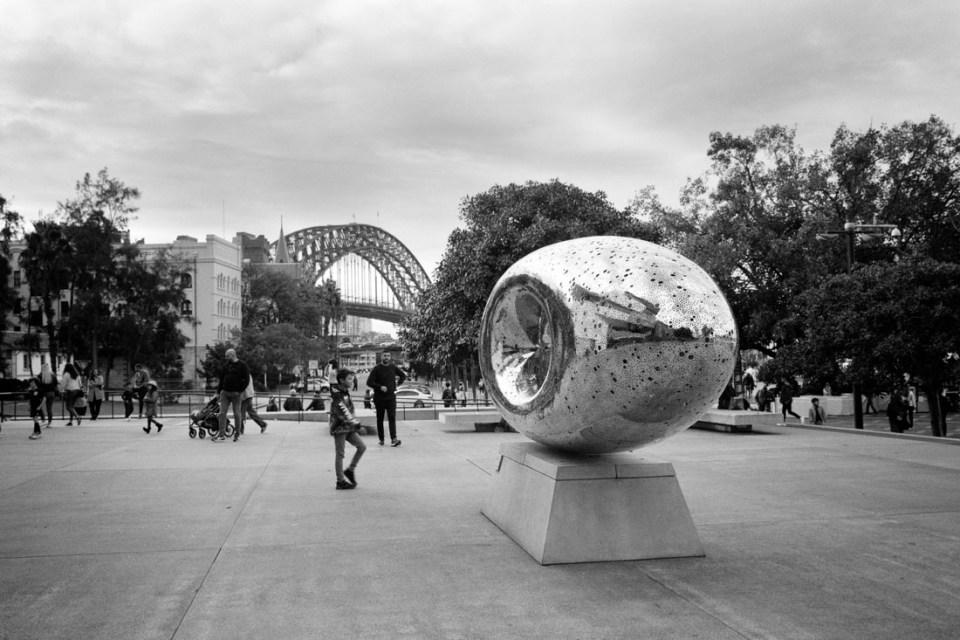 Circular Quay art installation | Mamiya Press Super 23 | Sekor Seikosha-S 65mm f/6.3 | Kodak Tri-X