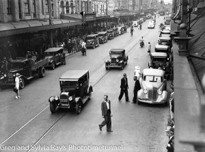 Hunter Street Newcastle during a transport strike, January 26, 1944.