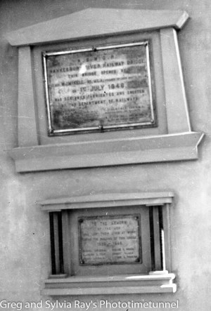 Plaques unveiled at the official opening of the new Hawkesbury River railway bridge, July 1, 1946. (2)