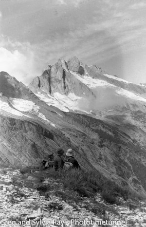 Australian lawyer Marie Byles' expedition to the New Zealand alpine country in 1935. Mt Query or Mt Doubtful from the Mahitahi Valley.