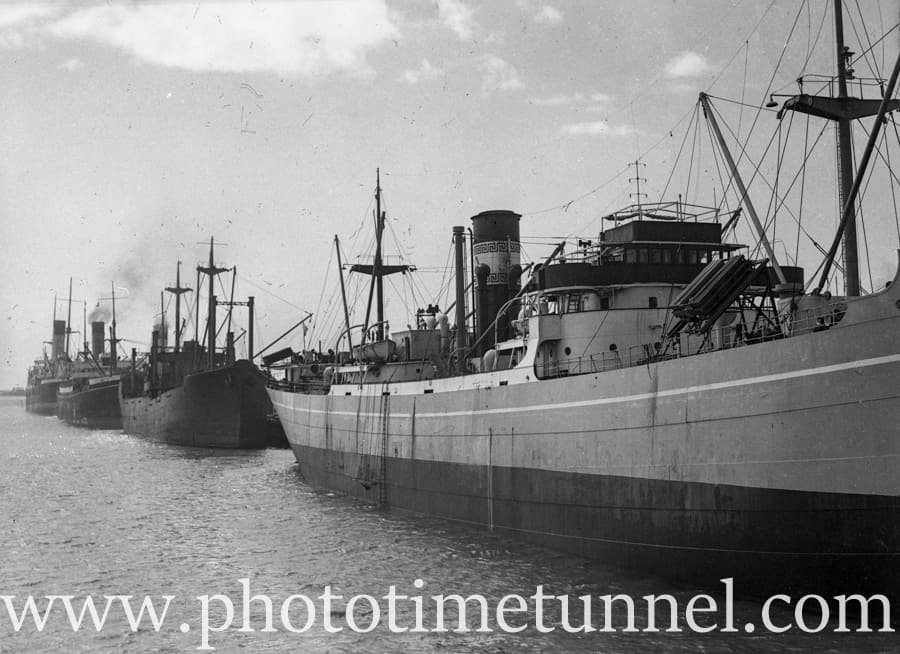 Ships in Newcastle Harbour, NSW, circa 1940s  ~ Photo Time Tunnel