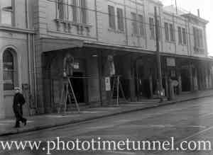 Newcastle Railway Station being painted, June 26, 1949.