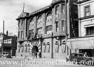 Civic Week decorations on Hunter District Water Board building, Hunter Street, Newcastle, August 16, 1937. (3)