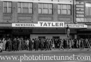 At the opening of the Tatler Theatrette in Hunter Street, Newcastle, NSW, June 1, 1944. (1)