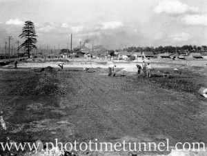 Preparation of Stewarts and Lloyds oval, Mayfield, NSW, circa 1946. (1)