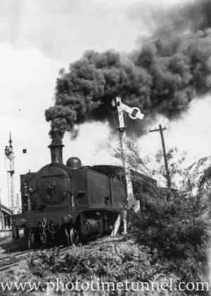 John Brown locomotive during strike at Bellbird colliery, May 9, 1940.