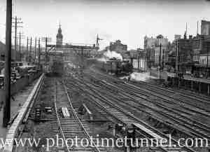 Locomotive 3532 leaving Newcastle, NSW, January 12, 1937.