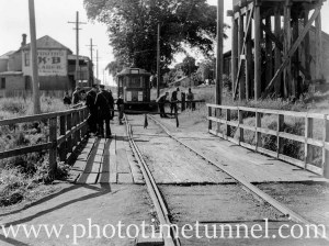Tram at Wallsend, at damaged bridge near the Fig Tree Hotel and old goods shed, May 4, 1948. (2)