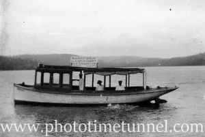Wooden ferry Saratoga, with destinations Earls Court and Brighton. Proprietor H. Digney. NSW early 20th century.
