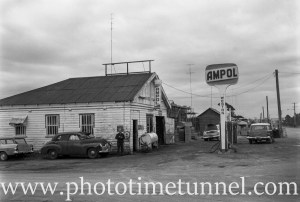 Ampol petrol station at Weston, NSW, 1969.