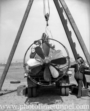 Propeller view of Japanese mini-submarine being prepared for inspection, Newcastle, NSW, September 3, 1942.