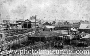 Vintage view of Newcastle, NSW, looking south-west across the rail lines, the Northumberland Building Society building in the background.