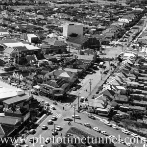 Aerial view of The Junction, Newcastle, NSW, after a RAAF Sabre jet fighter crash on August 17, 1966. (1)