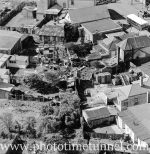 Aerial view of The Junction, Newcastle, NSW, after a RAAF Sabre jet fighter crash on August 17, 1966. (21)