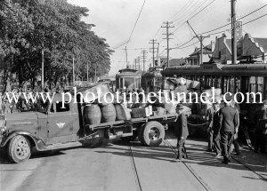Tram and truck in collision on Maitland Road, Islington, Newcastle, NSW, October 1940. (6)