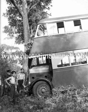 Double-decker bus after an accident at Dudley, Newcastle, NSW, November 20, 1941. (1)