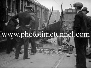 Accident between a tram and a vendor driving a horse-drawn vehicle in Hunter Street, Newcastle, NSW, August 1935. (3)