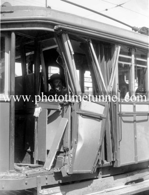 Damaged tram after an accident in Newcastle, NSW, October 20, 1949. (3)