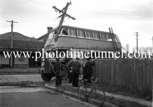 Double-decker bus after a collision with a power pole at Tudor Street, Hamilton, Newcastle, NSW, October 4, 1951. (2)
