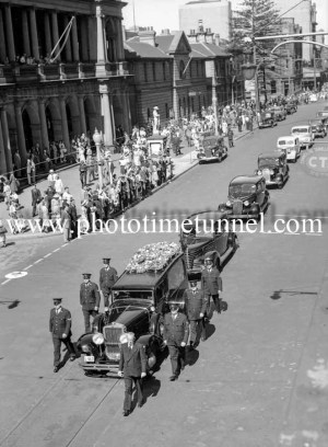 Procession at the funeral of Presbyterian minister and RAAF Chaplain Andrew Robson McVittie in Newcastle on November 6, 1947. (2)