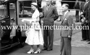 Queen Elizabeth II and Prince Philip at BHP steelworks, Newcastle, NSW, February 9, 1954. (17)