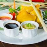 【東南亞風味海南雞半隻及醬料】飲食業專用素材圖像